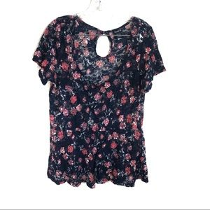 Torrid Floral Lace Sheer Baby Doll Blouse